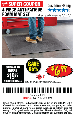 Anti-Fatigue Foam Mat Set, 4 Pc.