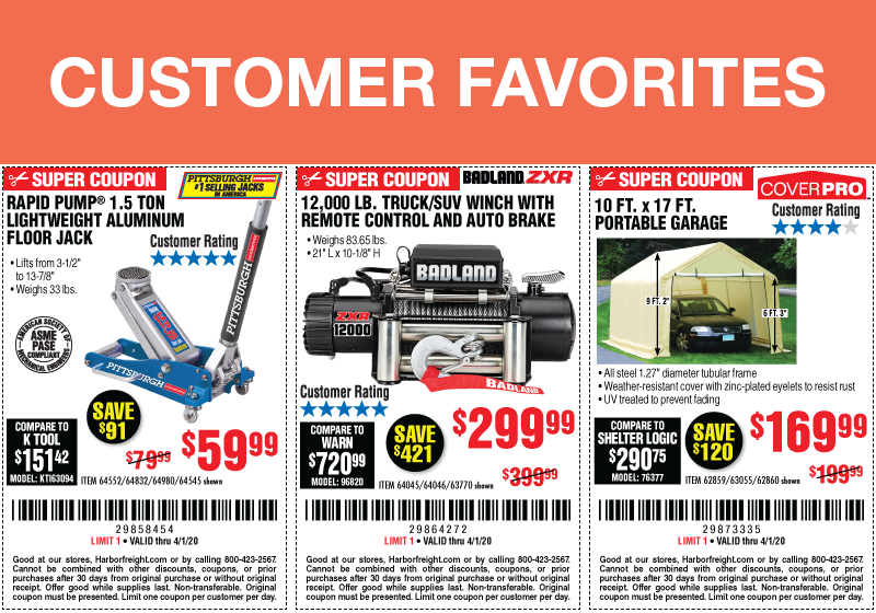 Customer Favorites at Harbor Freight - Now Through 4/1/2020