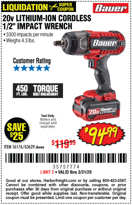 20V Hypermax™ Lithium-Ion Cordless 1/2 in. Impact Wrench - Tool Only
