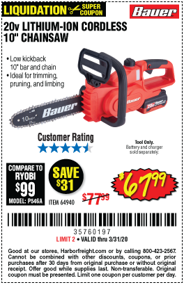 20V Hypermax™ Lithium-Ion Cordless Chainsaw – Tool Only