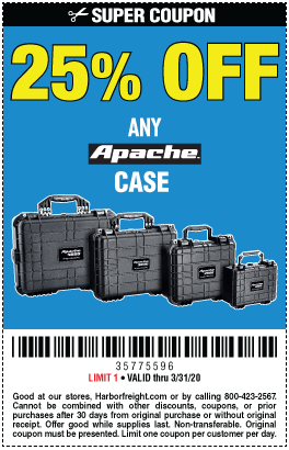 25% off Any Apache Brand Case