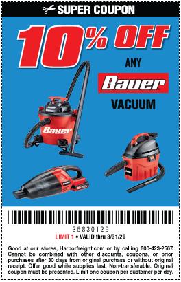 10% off Bauer Vacuums (5 skus)