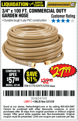 Greenwood 3 4 In X 100 Ft Commercial Duty Garden Hose For 27 99