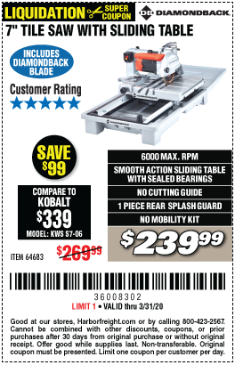 Heavy Duty Wet Tile Saw