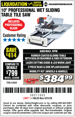 2 4 Hp Heavy Duty Wet Tile Saw