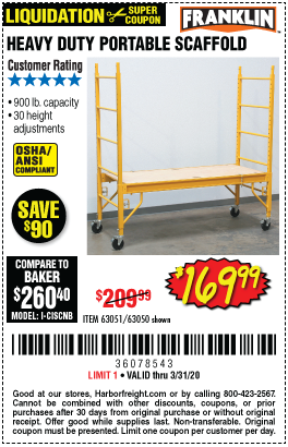 Franklin Heavy Duty Portable Scaffold For 169 99 Harbor Freight Coupons