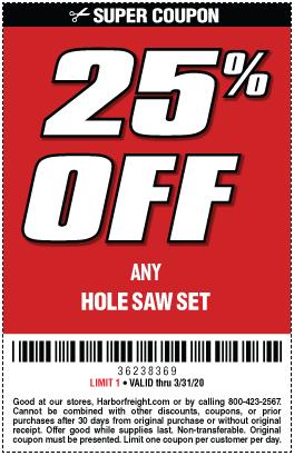 25% off any Hole Saw set