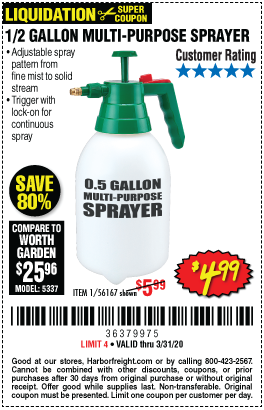 0 5 Gallon Multi Purpose Sprayer For 4 99 Harbor Freight Coupons