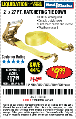3300 lb. Capacity 2 in. x 27 ft. Heavy Duty Ratcheting Tie Down, 1 Pk.