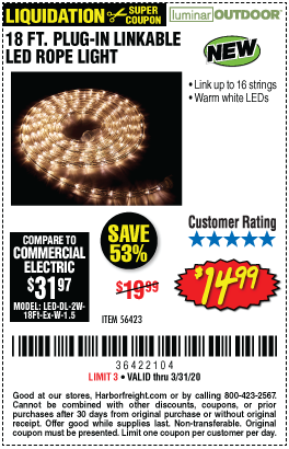 18 ft. LED Linkable Rope Light - Warm White