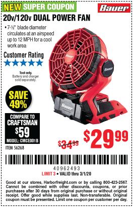20V/120V Dual Power Fan - Tool Only