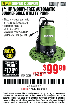 1/4 HP Worry-Free Automatic Submersible Utility Pump