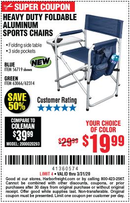 Foldable Aluminum Sports Chair - Blue