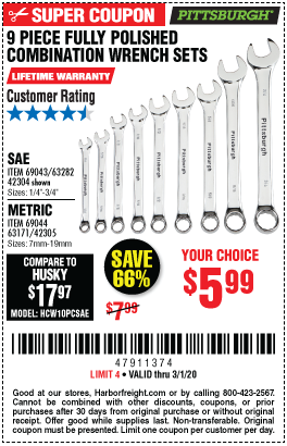 Fully Polished SAE Combination Wrench Set, 9 Pc.
