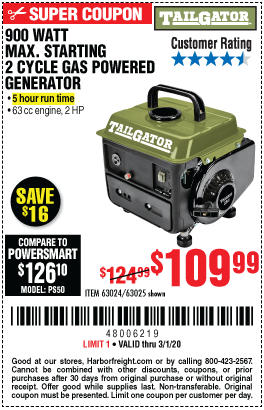 900 Watt Max Starting 2 Cycle Gas Powered Generator - EPA/CARB