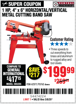 Central Machinery 1 Hp 4 In X 6 In Horizontal Vertical Metal Cutting Band Saw For 199 99 Harbor Freight Coupons