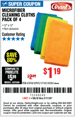 Grant S Microfiber Cleaning Cloth 12 In X 12 In 4 Pk For 1 19 Harbor Freight Coupons