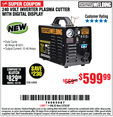 240 Volt Inverter Plasma Cutter with Digital Display