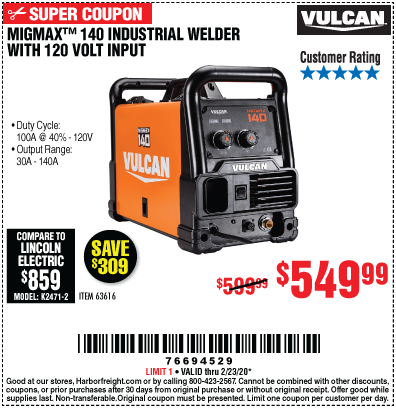 MIGMax™ 140 Industrial Welder with 120 Volt Input