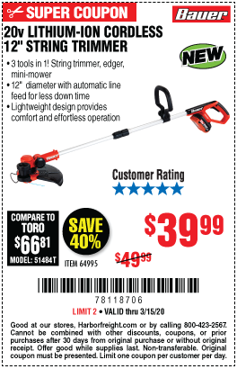 20V Hypermax™ Lithium-Ion Cordless String Trimmer – Tool Only