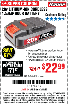 20V HyperMax™ Lithium-Ion 1.5 Ah Compact Battery