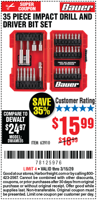 Impact Drill and Driver Bit Set, 35 Pc.
