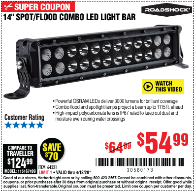 14 in. Spot/Flood Combo LED Light Bar