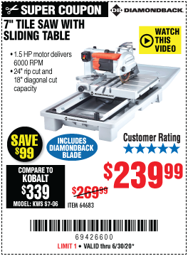 Wet Tile Saw With Sliding Table