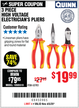 High Voltage Electrician's Pliers, 3 Pc.