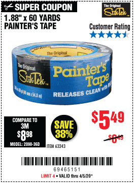 60 yd. x 1.88 in. Painter's Tape