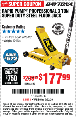 3 Ton Low Profile Super Duty Rapid Pump® Floor Jack