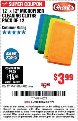 Microfiber Cleaning Cloth 12 in. x 12 in., 12 Pk.