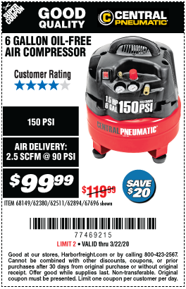6 gallon 1.5 HP 150 PSI Professional Air Compressor