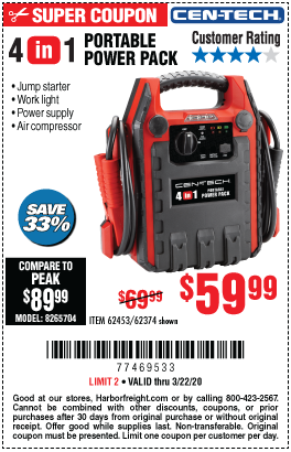 4-In-1 Power Pack With Jump Starter and Compressor