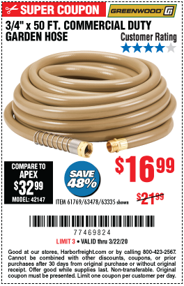 3/4 in. x 50 ft. Commercial Duty Garden Hose
