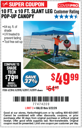 10 ft. x 10 ft. Slant Leg Pop-Up Canopy