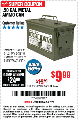 .50 Cal Metal Ammo Can