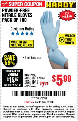 5 mil Nitrile Powder-Free Gloves, 100 Pc. Medium Light Blue