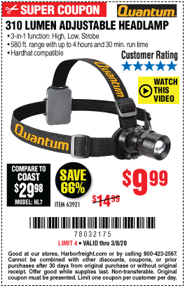 Quantum 310 Lumen Headlamp For 9 99 Harbor Freight Coupons