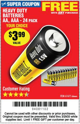 AQ-1 Free YC 24pc AA or AAA HD Battery w/Any Purch