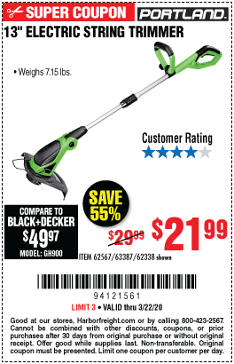 13 in. Corded Electric String Trimmer