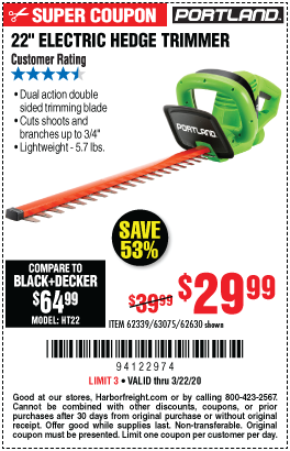 22 in. Corded Electric Hedge Trimmer
