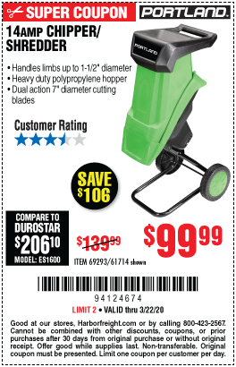 14 Amp 1-1/2 in. Capacity Corded Electric Chipper Shredder