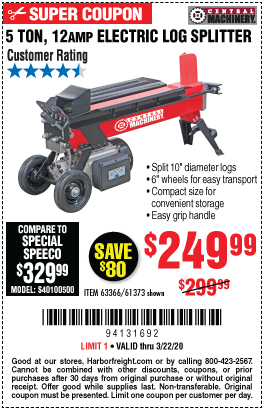 Central Machinery 5 Ton Log Splitter For 249 99 Harbor Freight Coupons