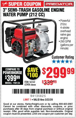3 in. 212cc Gasoline Engine Semi-Trash Water Pump - 290 GPM