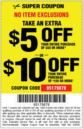 No Item Exclusions 5 Off 50 Or 10 Off 100 Harbor Freight Coupons