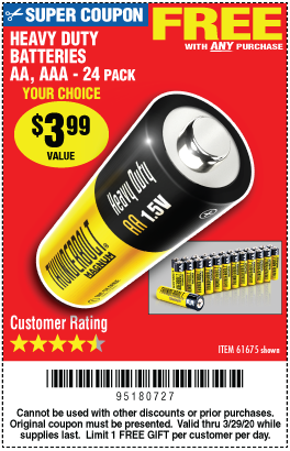 Free Heavy Duty Batteries With Purchase Through 3 29 20 Harbor Freight Coupons
