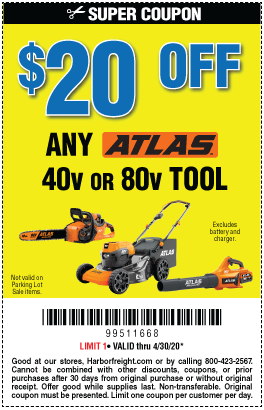 $20 off any Atlas Outdoor Power Equipment