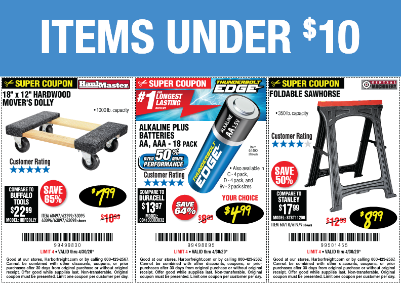 Items Under $10 - Now Through April 30, 2020