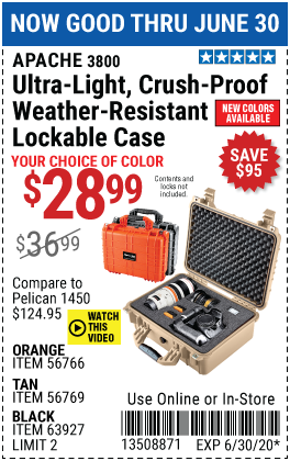 3800 Weatherproof Protective Case - Large - Tan